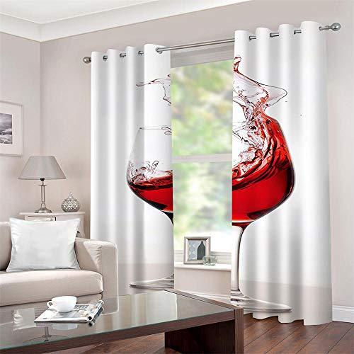 Gzclian Tende Oscurante con Occhielli 3D Vino Rosso Tenda Finestra 2 Pezzi (B75x H180cm) Moderna Decorazioni Cameretta per cameretta Soggiorno Regalo