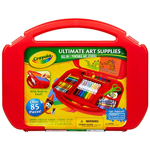 Crayola Ultimate Art Case With Easel, 85 Pieces, Gift For Kids Multicolor, 12 1/4' x 15 3/4' x 2 1/4'
