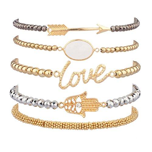 Lux Accessories Love Hamsa Arrow Beaded Arm Candy Friendship Rhinestone Stretch Bracelet Set