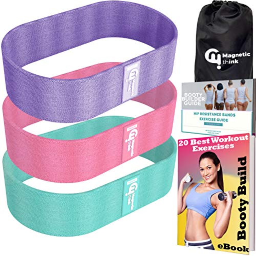 Magnetic Think Fabric Resistance Bands for Exercise, 3 Pack of Workout Cloth Bands, Non-Slip Glute Bands for Gym Training, Elastic Loop Bands for Hip, Glute and Squats
