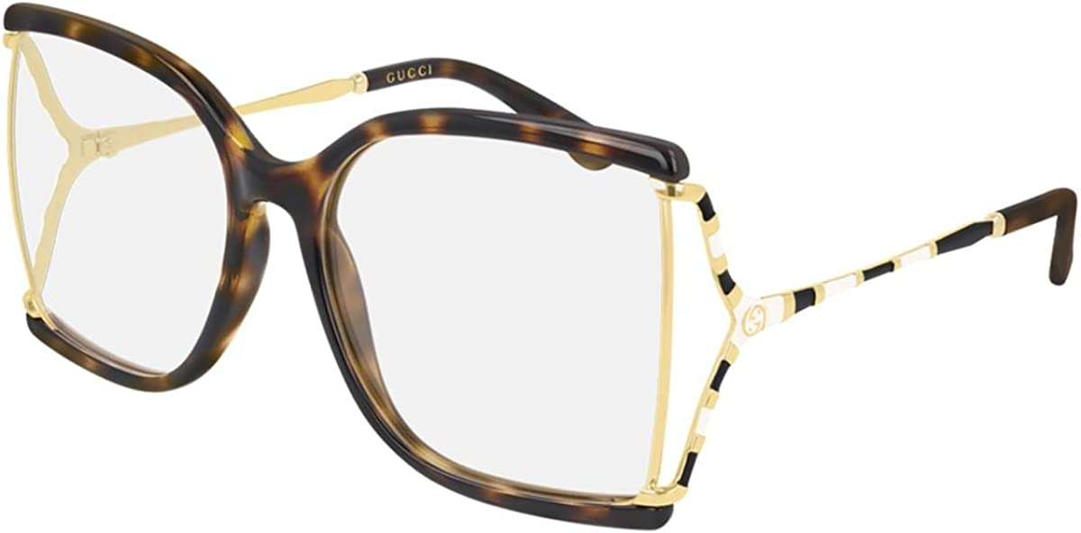 List price Quantity limited Gucci GG 0592O 002 Havana Plastic Eyeglasses 60mm Butterfly