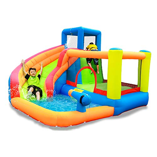 doctor dolphin Inflatable Bounce House Water Slide Bouncy House Water Park Combo for Kids Outdoor Party with Air Blower