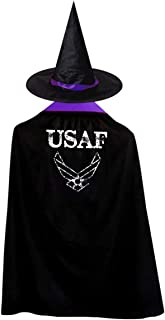 Us Air Force Children's Halloween Cloak Black Ponchos Cape With Wizard Hat Costume For Kids