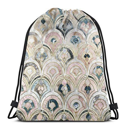 Bolsa de mochila con cordón OPLKJ, baldosas de mármol Art Deco en pasteles suaves Bolsa de gimnasio Db Bolsa de almacenamiento de mochila portátil para acampar Senderismo Natación Compras Senderismo