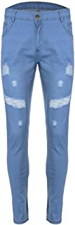 WXKDH Mens Jeans Destroyed Ripped Design Pencil Pants