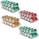 Puricon 【4Packs】 Organizador de Latas y Botellas para Refrigerador, Contenedores Apilables de Plástico para Almacenamiento de Bebidas, Frutas, Verduras, Aperitivos, etc. -Transparente