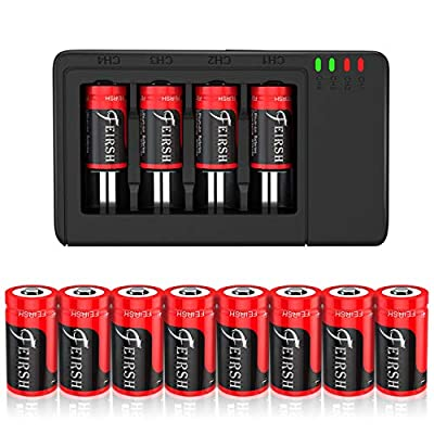 CR123A_Rechargeable Battery, 8 Pack Compatible with Arlo CR_123A Wireless Cameras 3.7V 800mAh Protected Battery Case and Arlo Battery Charger for Arlo VMC3030 VMK3200 VMS3330 3430 3530 and More from Born for Mac Notebook