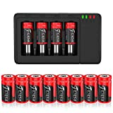 CR123A_Rechargeable Battery, 8 Pack Compatible with Arlo CR_123A Wireless Cameras 3.7V 800mAh Protected Battery Case and Arlo Battery Charger for Arlo VMC3030 VMK3200 VMS3330 3430 3530 and More