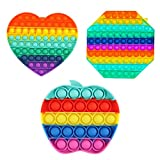 VASTAIR 3Pcs Rainbow Push Pop Bubble Sensory Fidget Toy, Simple Sensory Fidget Toy Autism Special Needs Stress Reliever Anxiety Relief Hand Fidget Toys for Adults and Children