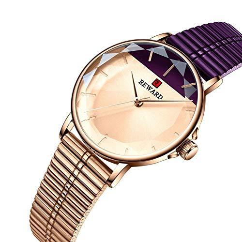 JIADUOBAO - S - Reloj de cuarzo para mujer, color morado, de acero inoxidable, impermeable, regalo S (color: morado)