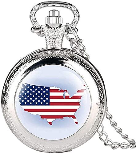 DNGDD Reloj de Bolsillo Reloj de Bolsillo de Cuarzo Plateado Vintage para Hombre, Relojes de Bolsillo con diseño de Mapa de América Creativo para Mujer, Cadena de Reloj de Bolsillo de aleación dur