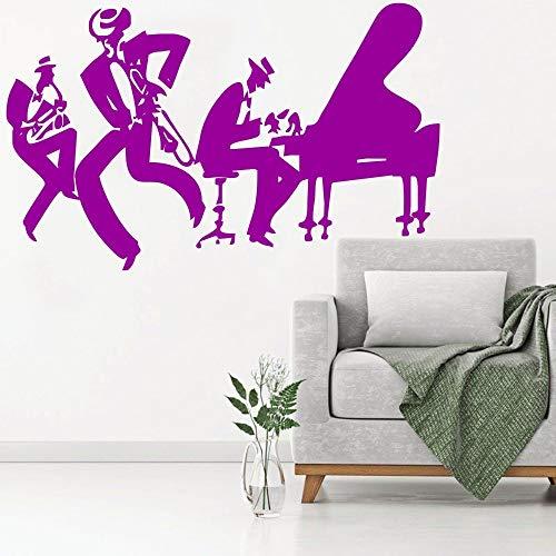 hetingyue Cool piano saxofoon jazz muur sticker familie muziek decoratie saxofoon instrument tool band muurschildering moderne muur poster kwaliteit decal
