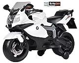 Babycar 283B–Moto eléctrica para niños BMW K 1300S con Ruedas Incluidas, 12V, Blanco
