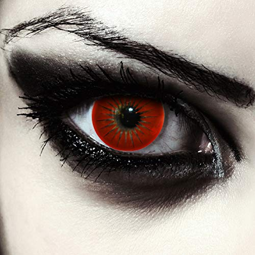 Designlenses farbige Kontaktlinsen in rot Halloween Vampir Kostüm ohne Sehstärke + Kontaktlinsenbehälter