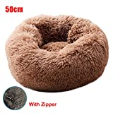 2019 New Shag Plush Donut Cuddler Pet Dog Bed Comfortable Calming Round Puppy Mat With Zipper for Winter Pet Bed for Cats and Small Medium Dogs, Soft Cushion Round or Oval Donut Nesting Cave Bed