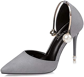 Ying-xinguang Shoes Fashion Stiletto Pearls Slim High Heels Women's High-Heeled Sexy Single Shoes Comfortable