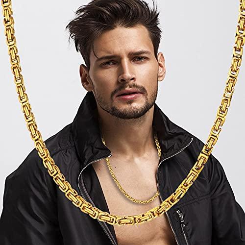 Caja bizantina declaración Hombres Oro Plata Color Acero Inoxidable Gargantilla Collar Cadena