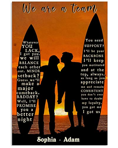 Gardenia Surfing Couple Posters Canvas Wall Art Personalized Name Surfing Couple Black Silhouette We are A Team Poster Home Decorations for Living Room Abstract Wall Art Decor Motivational