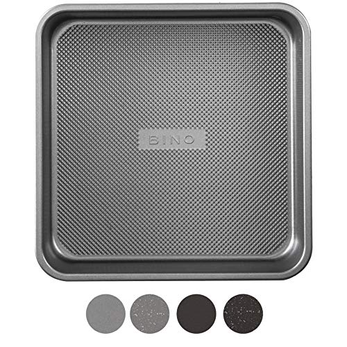 BINO Bakeware Nonstick Square Baking Pan, 9 Inch - Gunmetal | Premium Quality Textured Cake Pan with Even-Flow Technology | Dishwasher Safe | Non-Toxic