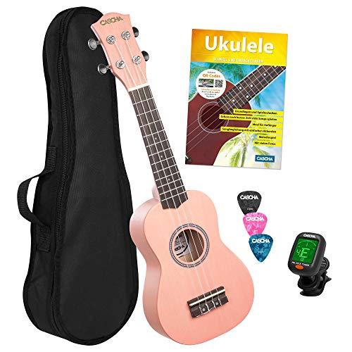 CASCHA Sopran Ukulele Set für Kinder und Erwachsene I Starter Kit mit 3 Plektren Tasche Lehrbuch Lernvideos über QR-Code Stimmgerät I Aquila Saiten Nylon I Kleine Hawaii Gitarre I Pink