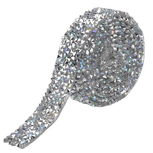 HQdeal Ruban de Strass Adhesif, 1 Yard 15 mm Rubans de Diamant Étincelants, Rouleau de Maille Cristal de Argent, Ruban de Cristal pour Vêtements Robe Ceinture Chaussures Accessoire (Argent)