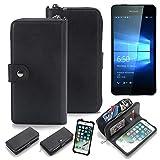 K-S-Trade 2in1 Handyhülle Für Microsoft Lumia 650 Dual-SIM Schutzhülle und Portemonnee Schutzhülle Tasche Handytasche Hülle Etui Geldbörse Wallet Bookstyle Hülle Schwarz (1x)