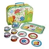 Slimy Toad Wobbly Jelly - Juego de té de Juguete en maletín de Color Verde, Azul, Amarillo y Rojo con Dibujos de «Pequeños Bichos» - Vajilla Infantil de estaño de 14 Piezas