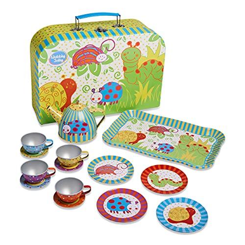 Slimy Toad Wobbly Jelly - Dinette Metal et Coffret P'tites Bêtes (Service de 14 Pièces pour Enfants) Vert, Bleu, Jaune, Rouge