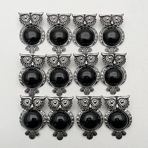 WANM Collier Pendentif Hibou Noir en Pierre Naturelle pour la Fabrication de Bijoux Accessoires de Pendule 12 pièces
