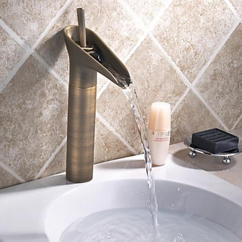 Antiker Wasserfall-Waschtisch mit Keramikventil Ein Knopf Ein Loch für antiken Messing, Waschbecken Wasserhahn