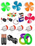 Hobby Science Project Material Kit Useful in Many Hobbyist Projects,Ideal For Science Fair Projects Science Experiments Kit For School Packet Includes:4x Dc Motor With Propeller Fan/ 1x Battery 9volt / 1xsnap(Connector) 2x Aa Battery With Battery Hol...