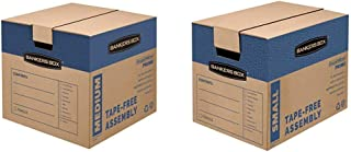 Bankers Box SmoothMove Prime Moving Boxes, Medium, 8-Pack, (0062801) & SmoothMove Prime Moving Boxes, Tape-Free, FastFold Easy Assembly, Handles, Reusable, Small, 12 x 12 x 6 Inches, 10 Pack (0062701)
