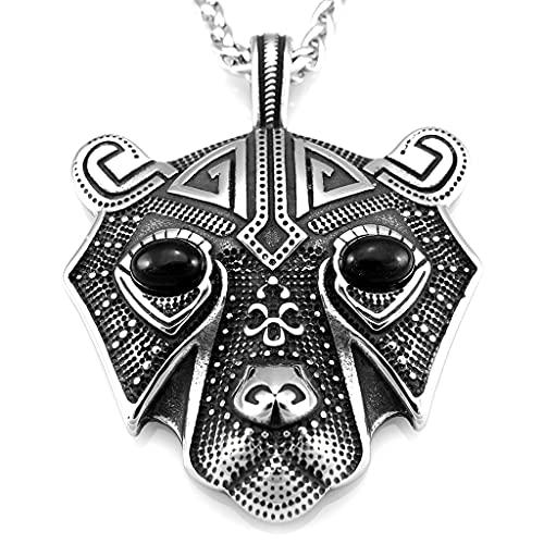 Feinny Collar Vikingo de Acero Inoxidable, Vintage Hombres Guerrero Nórdico Negro Diamante Ojos Oso Amuleto Colgante Joyería, con Bolsa De Regalo,60cm Chain