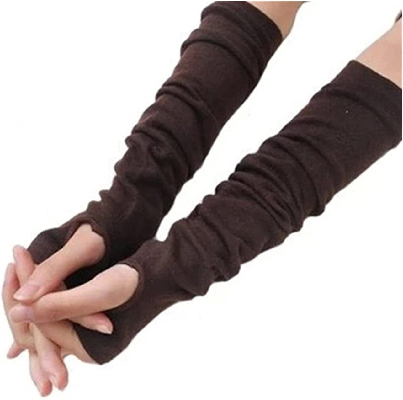 CHHNGPON Bridal Gloves Anime Glove Cosplay Mitten Oversleeve Man Women Fashion Sun Block Keep Warm Cuff Knitted Long Fingerless Gloves Arm Sleeve (Color : Light Grey, Gloves Size : One Size)