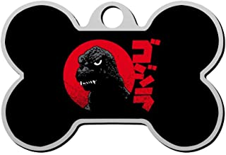 YTWISS Godzilla Red Grunge Motif Pet ID Tags - Bone Shaped Dog Tag & Cat Tags Pet Tag Custom Includes up to 4 Lines of Personalized Text Backside Print