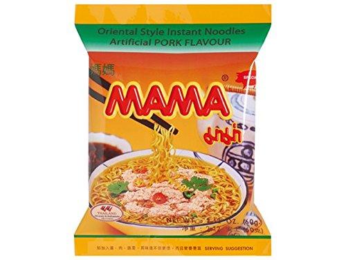 Mama - Asia Nudeln Geschmack Schwein - 30er Pack (30 x 60g) - 1 Karton Thai Fertiggericht Nudelsuppe