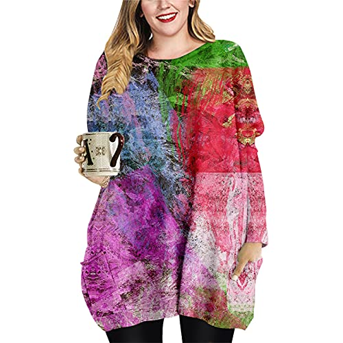 Damska moda codzienna z długim rękawem i dekoltem w szpic Plus rozmiar bluzki z kieszeniami Bluzki o średniej długości na imprezę codziennie XXL