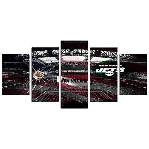 5Tdfc Leinwanddrucke Wandkunst Wandbild Fußball New York Jets Dekoration Kunstwerk Tapete mit Rahmen