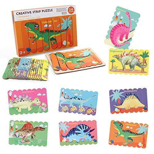 Coogam Palo de Dinosaurio de Madera Rompecabezas, 8 PCS 3D de Doble Cara en Forma de Tira Jigsaw Patrón de Dinosaurio apilamiento de Colores Preescolar Montessori