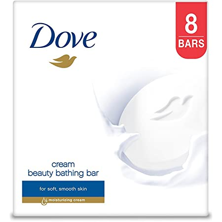 Dove Cream Beauty Bathing Bar With ¼ Moisturizing Cream To Give You Softer, Smoother Skin, 100 g (Pack of 8)