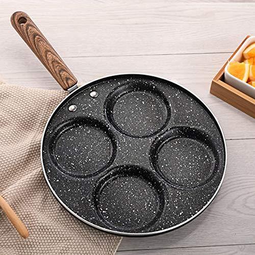 MMWYC Eierpfanne für 4 Tassen, antihaftbeschichtet, Eierkocher, Pfannkuchen, Spiegelei, Blini, Pfanne mit Griff