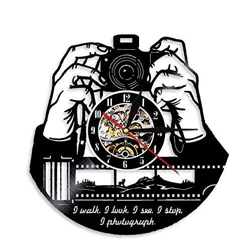 Enofvd Fotógrafo Reloj de Pared cámara nostálgico sesión de Fotos Disco de Vinilo Reloj de Pared Estudio de fotografía Logo fotógrafo Regalo 12 Pulgadas