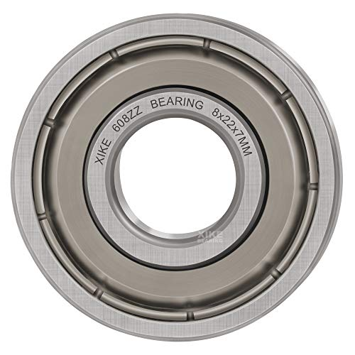 XiKe 100 Pcs 608ZZ Double Metal Seal Bearings 8x22x7mm, Pre-Lubricated and Stable Performance and Cost Effective, Deep Groove Ball Bearings.