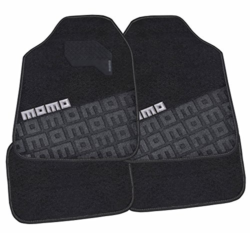 MOMO Carpet Car Mats, Black/Grey, Full Set of 4