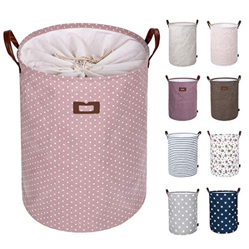 DOKEHOM 22-Inches Freestanding Laundry Basket with Lid Collapsible Extra Large Drawstring Clothes Hamper Storage with Handle Pink XL