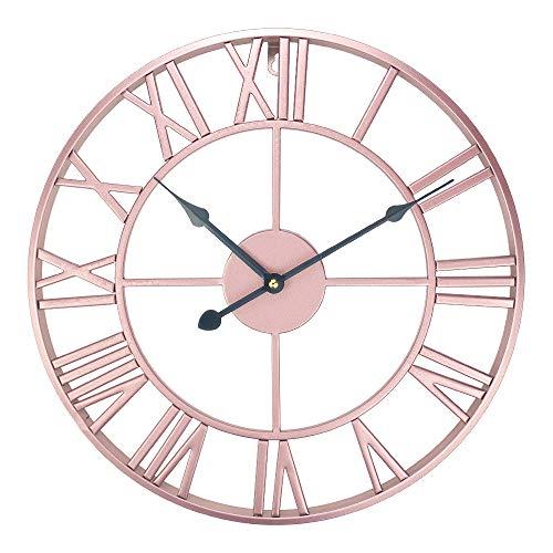 ufengke Reloj de Pared Vintage Europeo Oro Rosa Reloj Quartz Metal Silencioso Elegante con Numerales Romanos, Diámetro 40cm