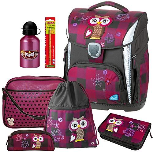 Olivia The OWL - Eule - Schneiders LED-TOOLBAG Plus mit LED-LEUCHTSYSTEM Schulranzen-Set 5tlg mit Sporttasche, Trinkflasche u. Schreiblernbleistift gratis dazu - 78326-051