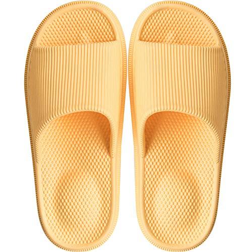 JFHZC Sandalias de verano, para el verano, para la salud de los pies, para el baño, para pedicura masculina y femenina, antideslizantes, para el hogar, para el hogar, color amarillo