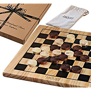 """Jaques of London Draughts Set - 12"""" Wooden Checkers Board Game with Pieces - Wooden Draughts and Checkers - Quality Games for Children and Adults Since 1795:Peliculas-gratis"""
