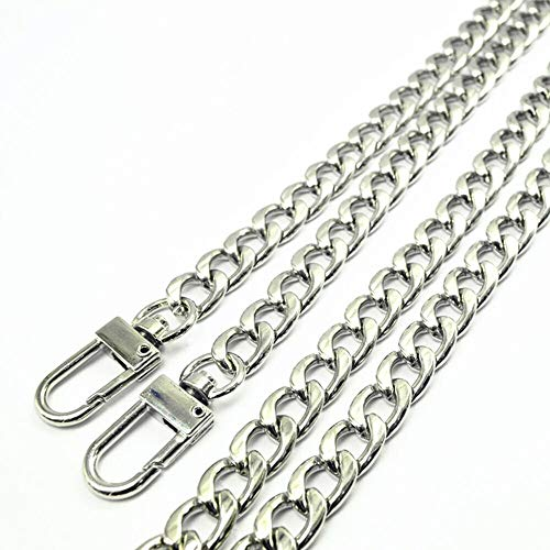 WEICHUAN 47 DIY Iron Flat Chain Strap Handbag Chains Accessories Purse Straps Shoulder Cross Body Replacement Straps, with Metal Buckles (Silver)